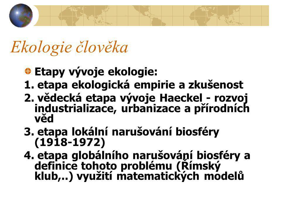 Ekologie člověka - historie 1866 Haeckel definice ekologie jako vědy o vztazích organizmů k okolnímu světu organickému i neorganickému, v prvním případě jde o vztahy mezi organismy ve druhém případě o vztahy mezi organizmy a fyzikálními a chemickými vlastnostmi stanoviště Ranné zemědělství v deltě Eufratu a Tigridu - nemožnost pěstování ječmene při zalévání vodou bohatou solemi - zasolení půdy Platón poukazuje na kácení lesů v Řecku a na erozi půdy