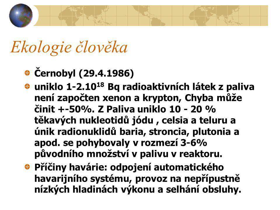 Černobyl (29.4.1986) uniklo 1-2.10 18 Bq radioaktivních látek z paliva není započten xenon a krypton, Chyba může činit +-50%.