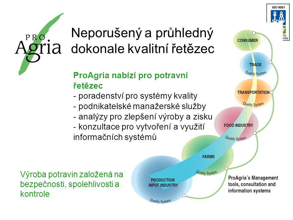 Neporušený a průhledný dokonale kvalitní řetězec ProAgria nabízí pro potravní řetězec - poradenství pro systémy kvality - podnikatelské manažerské služby - analýzy pro zlepšení výroby a zisku - konzultace pro vytvoření a využití informačních systémů Výroba potravin založená na bezpečnosti, spolehlivosti a kontrole