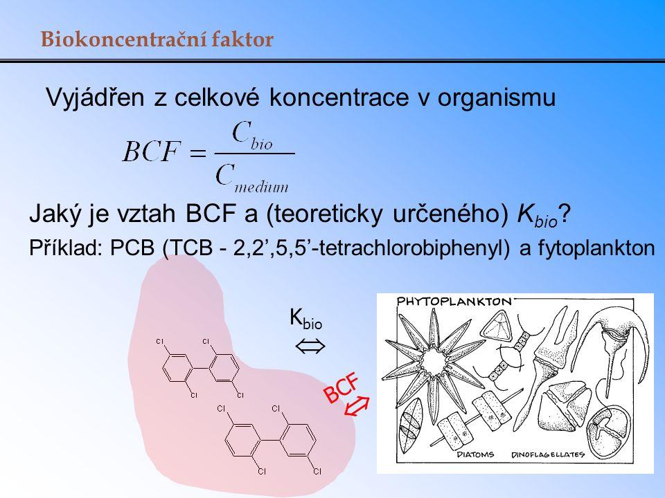 Vyjádřen z celkové koncentrace v organismu Biokoncentrační faktor Jaký je vztah BCF a (teoreticky určeného) K bio ? Příklad: PCB (TCB - 2,2',5,5'-tetr