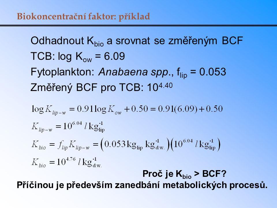 Biokoncentrační faktor: příklad Odhadnout K bio a srovnat se změřeným BCF TCB: log K ow = 6.09 Fytoplankton: Anabaena spp., f lip = 0.053 Změřený BCF