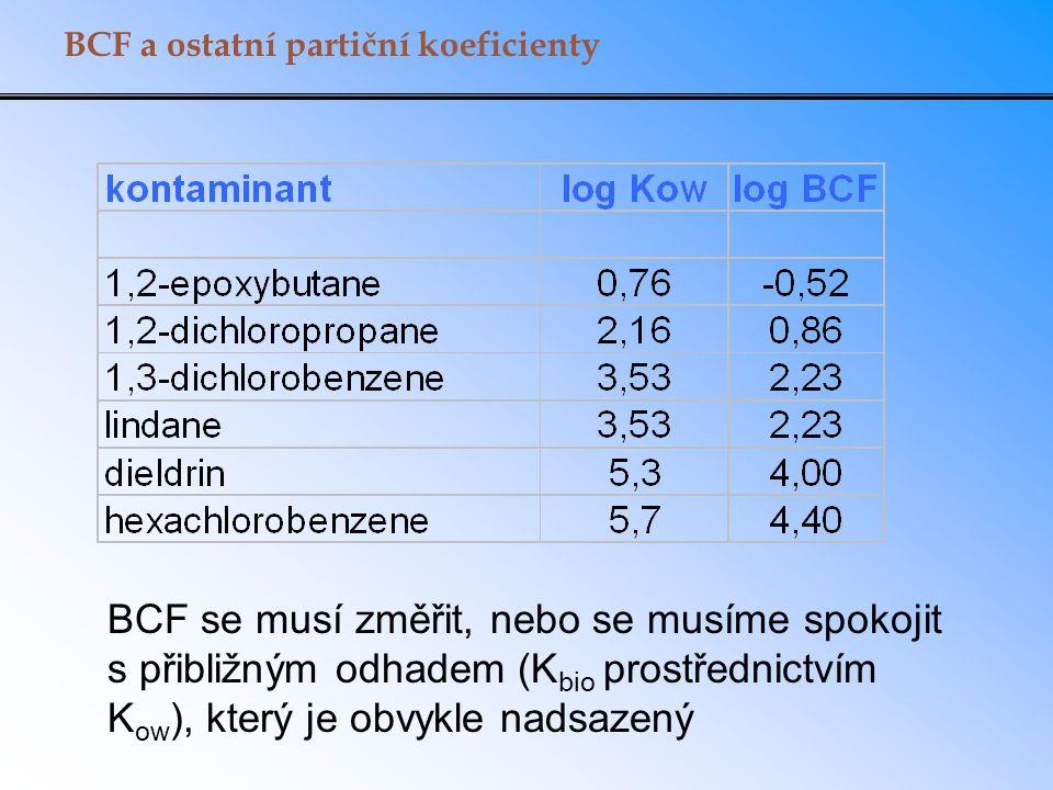 BCF a ostatní partiční koeficienty BCF se musí změřit, nebo se musíme spokojit s přibližným odhadem (K bio prostřednictvím K ow ), který je obvykle na