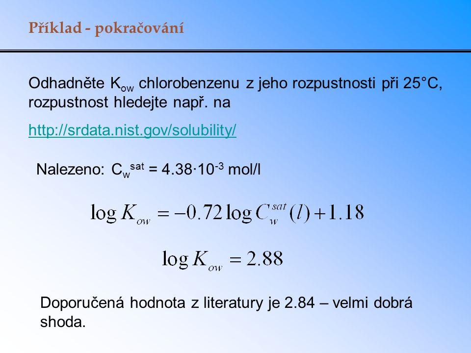 Příklad - pokračování Odhadněte K ow chlorobenzenu z jeho rozpustnosti při 25°C, rozpustnost hledejte např. na http://srdata.nist.gov/solubility/ Nale