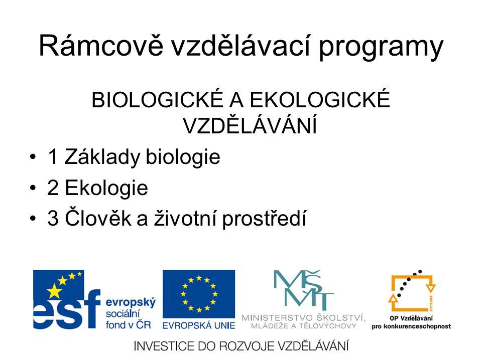 Rámcově vzdělávací programy BIOLOGICKÉ A EKOLOGICKÉ VZDĚLÁVÁNÍ 1 Základy biologie 2 Ekologie 3 Člověk a životní prostředí