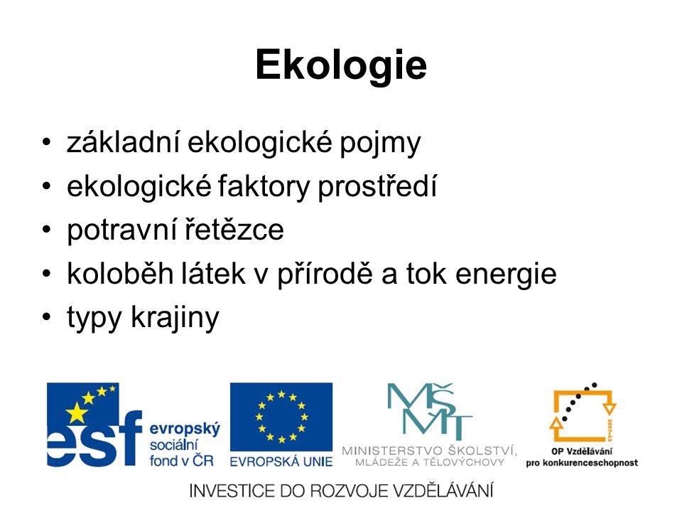 Ekologie základní ekologické pojmy ekologické faktory prostředí potravní řetězce koloběh látek v přírodě a tok energie typy krajiny