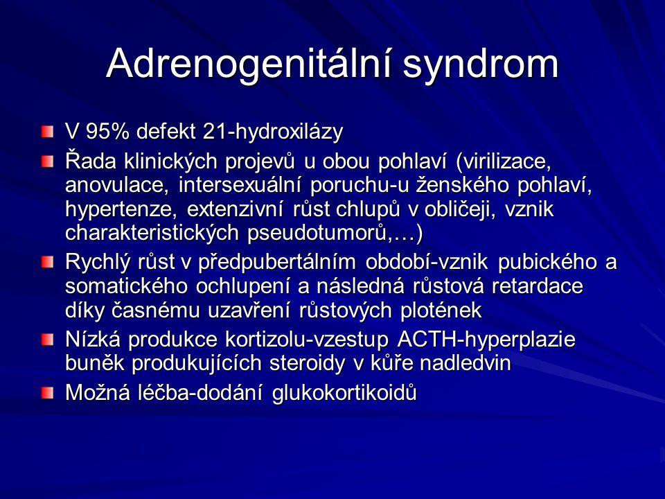 Adrenogenitální syndrom V 95% defekt 21-hydroxilázy Řada klinických projevů u obou pohlaví (virilizace, anovulace, intersexuální poruchu-u ženského po
