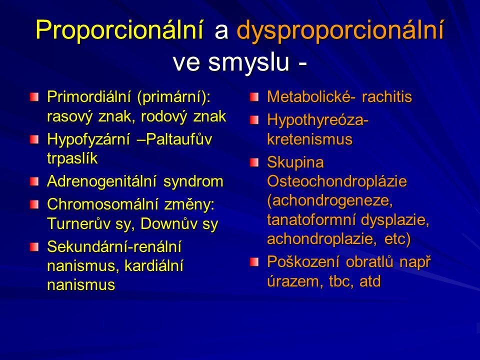Proporcionální a dysproporcionální ve smyslu - Primordiální (primární): rasový znak, rodový znak Hypofyzární –Paltaufův trpaslík Adrenogenitální syndr