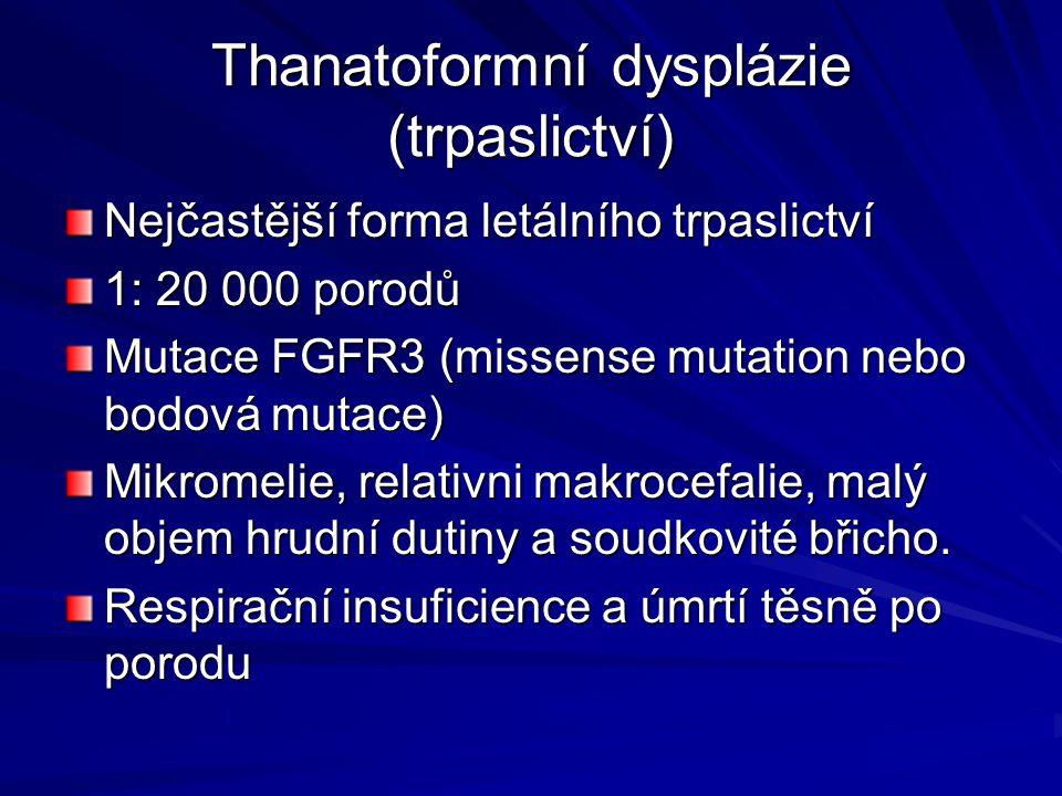 Thanatoformní dysplázie (trpaslictví) Nejčastější forma letálního trpaslictví 1: 20 000 porodů Mutace FGFR3 (missense mutation nebo bodová mutace) Mik