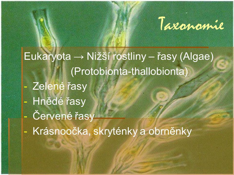 Taxonomie Eukaryota → Nižší rostliny – řasy (Algae) (Protobionta-thallobionta) --Z--Zelené řasy --H--Hnědé řasy --Č--Červené řasy --K--Krásnoočka, skr