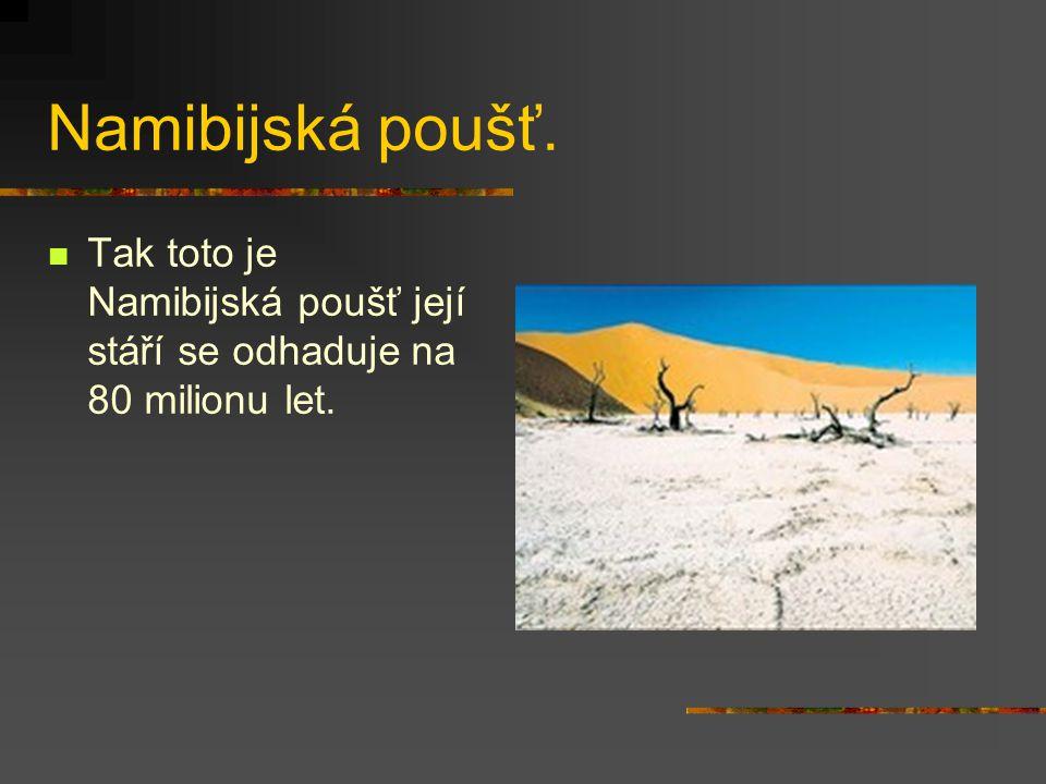 Namibijská poušť. Tak toto je Namibijská poušť její stáří se odhaduje na 80 milionu let.