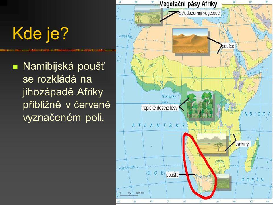 Kde je? Namibijská poušť se rozkládá na jihozápadě Afriky přibližně v červeně vyznačeném poli.