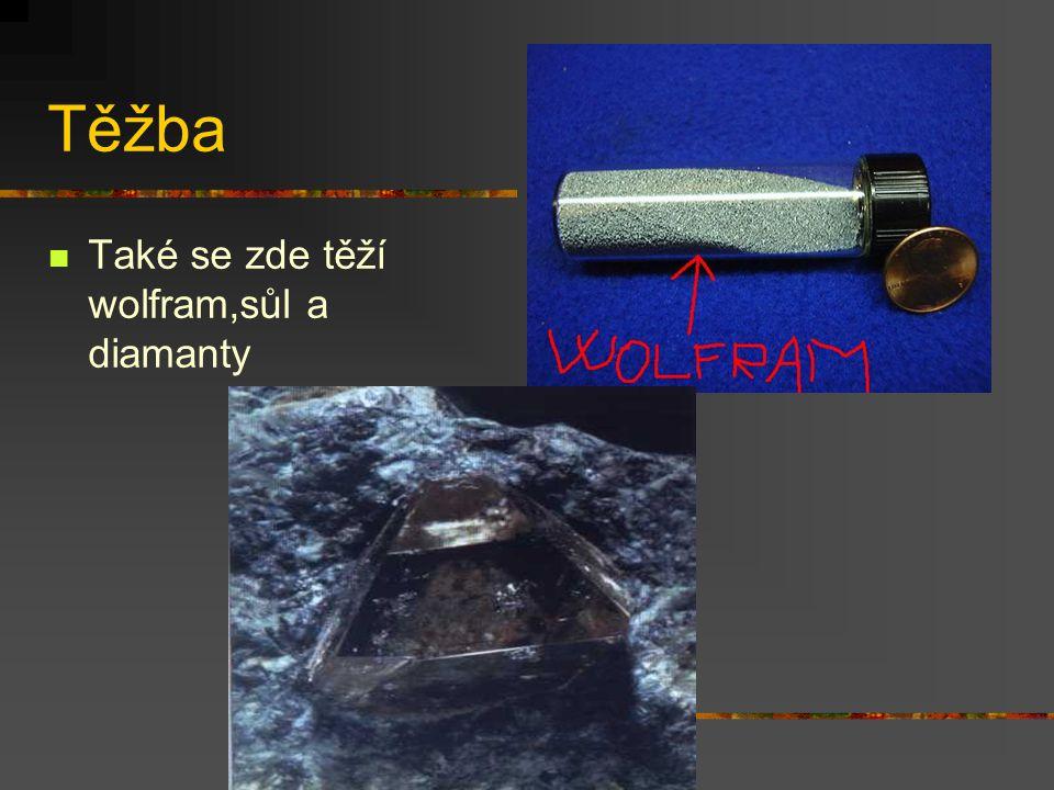 Těžba Také se zde těží wolfram,sůl a diamanty