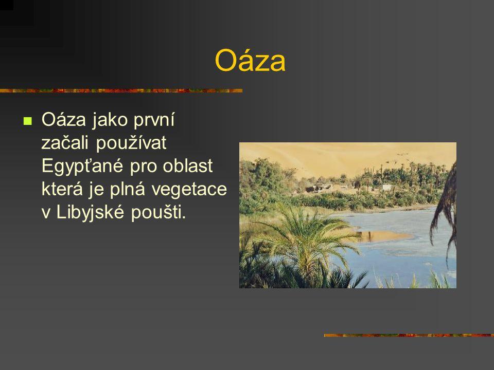 Oáza Oáza jako první začali používat Egypťané pro oblast která je plná vegetace v Libyjské poušti.