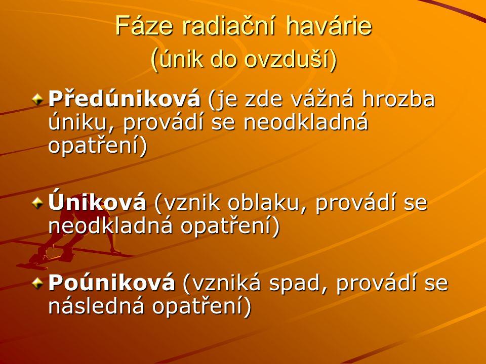 Fáze radiační havárie ( únik do ovzduší) Předúniková (je zde vážná hrozba úniku, provádí se neodkladná opatření) Úniková (vznik oblaku, provádí se neo