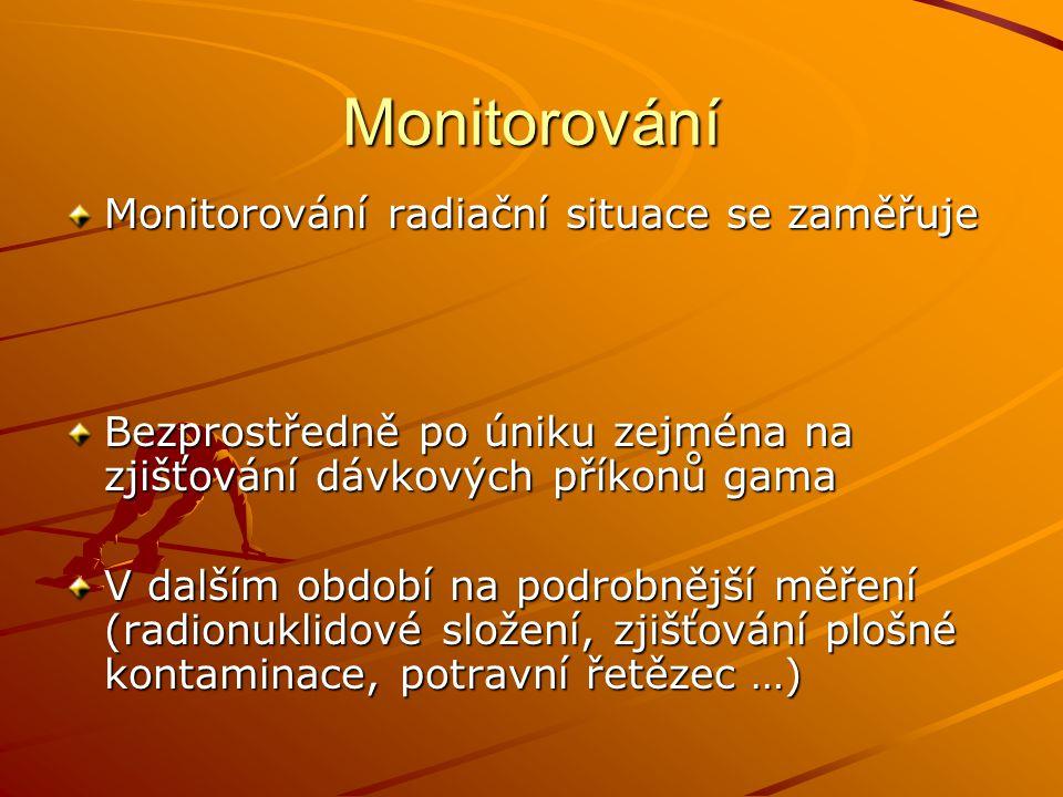 Monitorování Monitorování radiační situace se zaměřuje Bezprostředně po úniku zejména na zjišťování dávkových příkonů gama V dalším období na podrobně