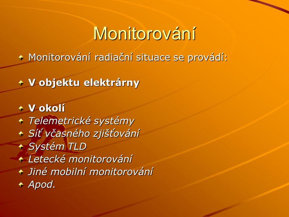 Monitorování Monitorování radiační situace se provádí: V objektu elektrárny V okolí Telemetrické systémy Síť včasného zjišťování Systém TLD Letecké mo