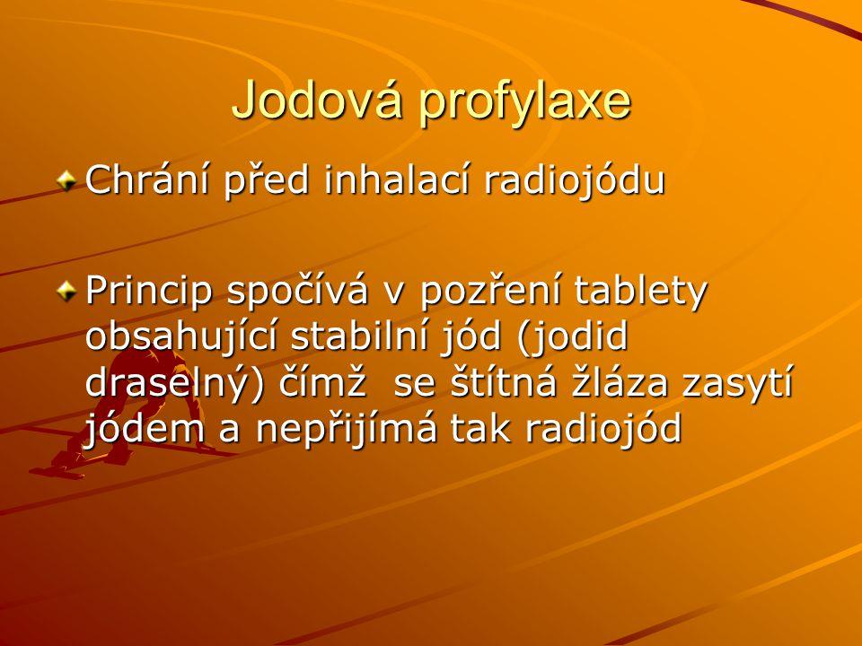 Jodová profylaxe Chrání před inhalací radiojódu Princip spočívá v pozření tablety obsahující stabilní jód (jodid draselný) čímž se štítná žláza zasytí