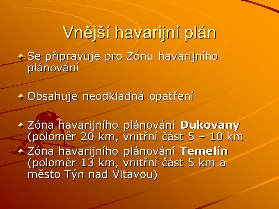 Vnější havarijní plán Se připravuje pro Zónu havarijního plánování Obsahuje neodkladná opatření Zóna havarijního plánování Dukovany (poloměr 20 km, vn