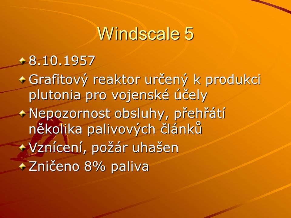 Windscale 5 8.10.1957 Grafitový reaktor určený k produkci plutonia pro vojenské účely Nepozornost obsluhy, přehřátí několika palivových článků Vznícen