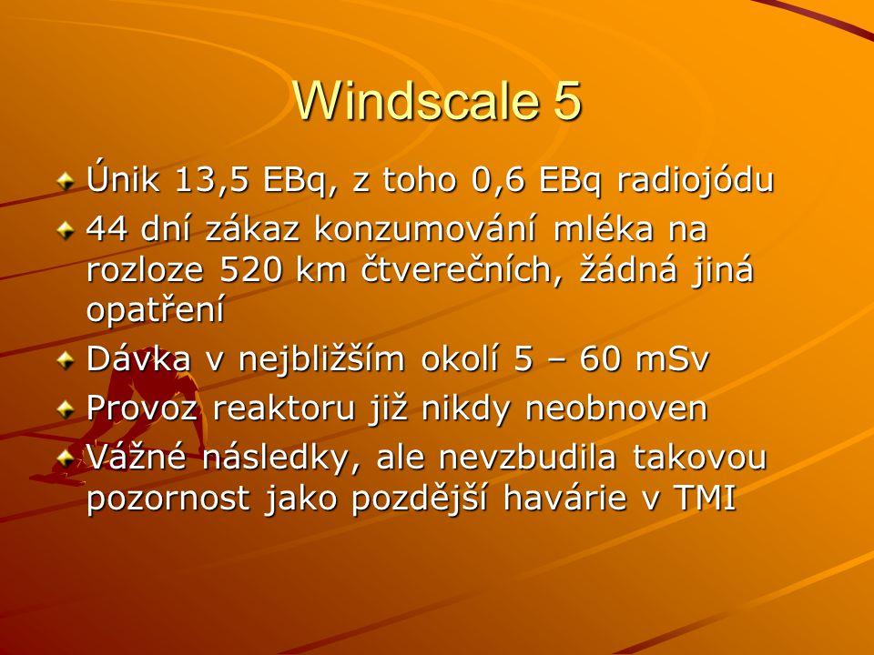 Windscale 5 Únik 13,5 EBq, z toho 0,6 EBq radiojódu 44 dní zákaz konzumování mléka na rozloze 520 km čtverečních, žádná jiná opatření Dávka v nejbližš