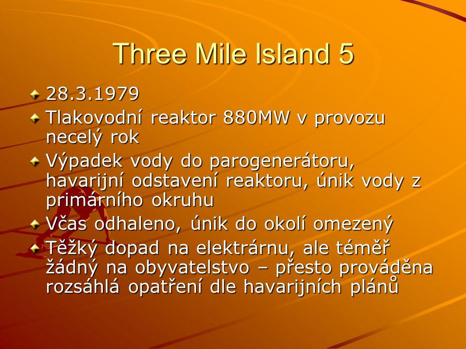 Three Mile Island 5 28.3.1979 Tlakovodní reaktor 880MW v provozu necelý rok Výpadek vody do parogenerátoru, havarijní odstavení reaktoru, únik vody z