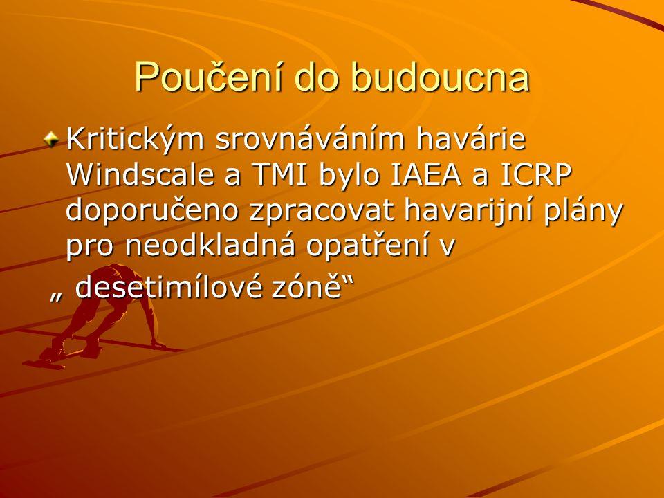 """Poučení do budoucna Kritickým srovnáváním havárie Windscale a TMI bylo IAEA a ICRP doporučeno zpracovat havarijní plány pro neodkladná opatření v """" de"""