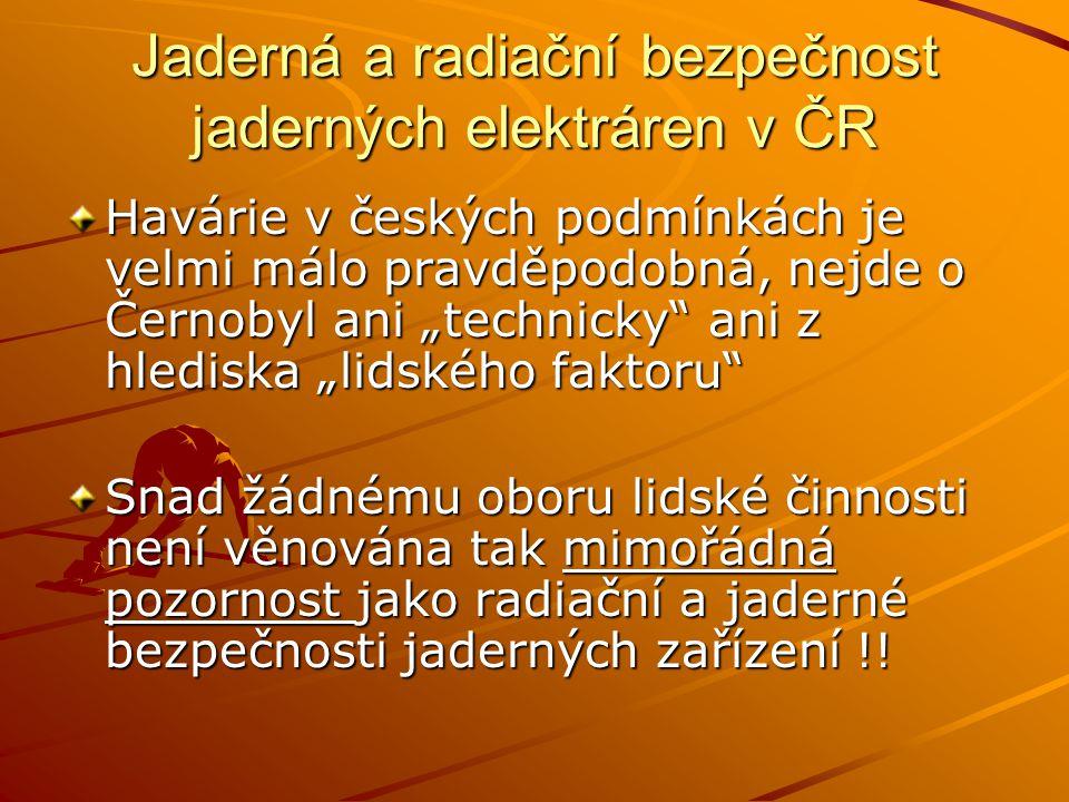Jaderná a radiační bezpečnost jaderných elektráren v ČR Nad jadernou a radiační bezpečností je vykonáván státní odborný dozor SÚJB – Státní úřad pro jadernou bezpečnost SÚRO – Státní úřad radiační ochrany SÚJCHB – Státní ústav pro jadernou, chemickou a biologickou ochranu