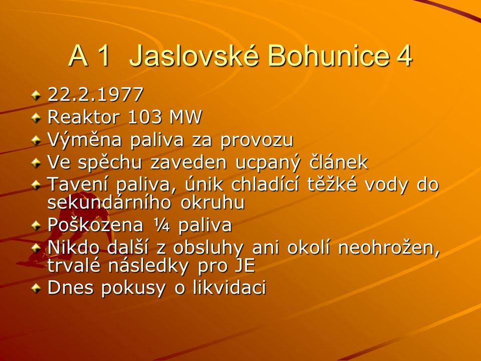 A 1 Jaslovské Bohunice 4 22.2.1977 Reaktor 103 MW Výměna paliva za provozu Ve spěchu zaveden ucpaný článek Tavení paliva, únik chladící těžké vody do