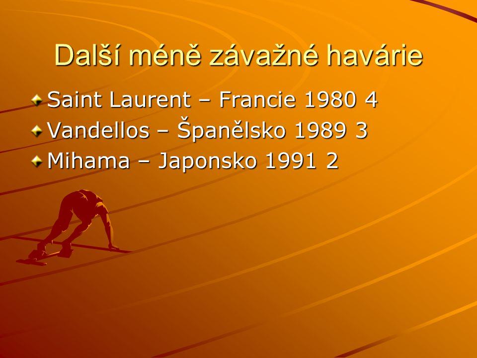 Další méně závažné havárie Saint Laurent – Francie 1980 4 Vandellos – Španělsko 1989 3 Mihama – Japonsko 1991 2