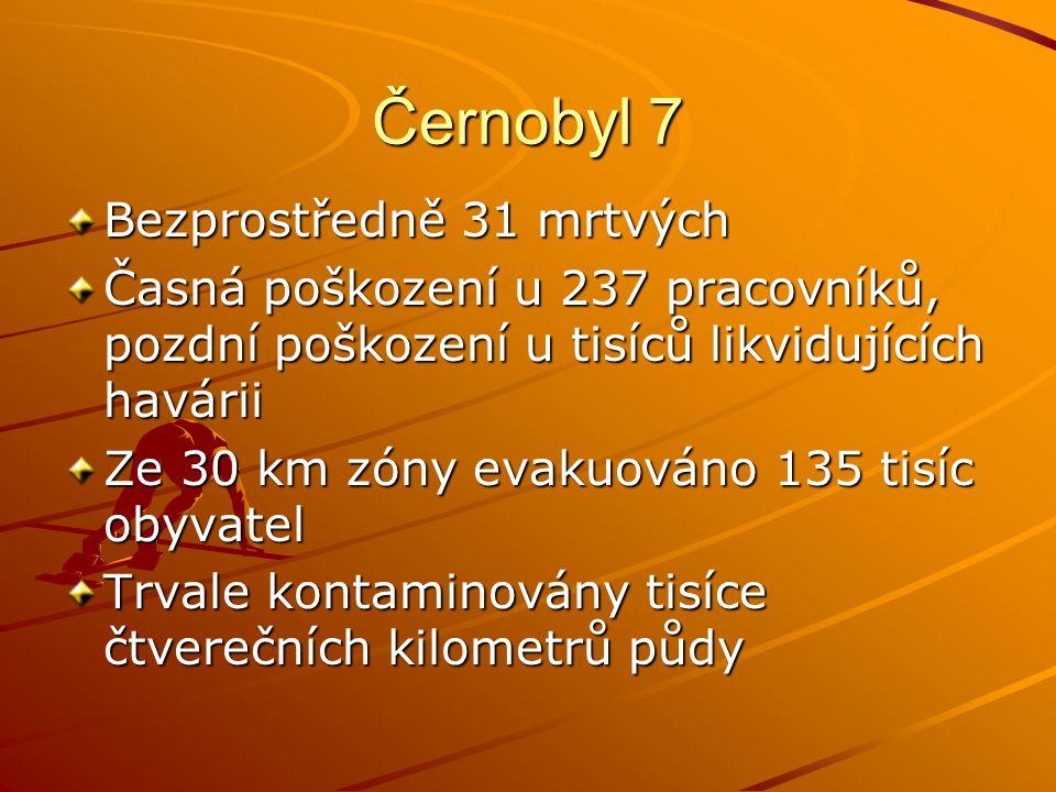 Černobyl 7 Bezprostředně 31 mrtvých Časná poškození u 237 pracovníků, pozdní poškození u tisíců likvidujících havárii Ze 30 km zóny evakuováno 135 tis