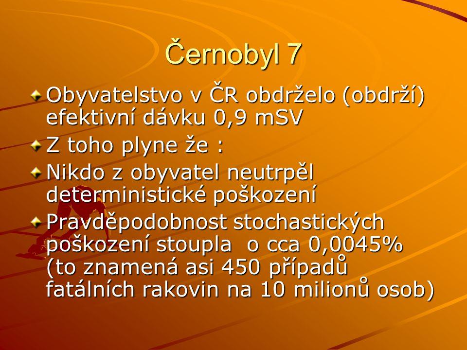 Černobyl 7 Obyvatelstvo v ČR obdrželo (obdrží) efektivní dávku 0,9 mSV Z toho plyne že : Nikdo z obyvatel neutrpěl deterministické poškození Pravděpod