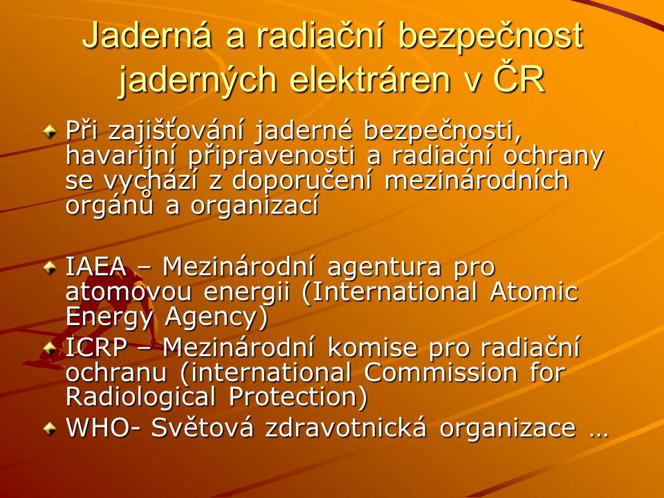 Jaderná a radiační bezpečnost jaderných elektráren v ČR Při zajišťování jaderné bezpečnosti, havarijní připravenosti a radiační ochrany se vychází z d
