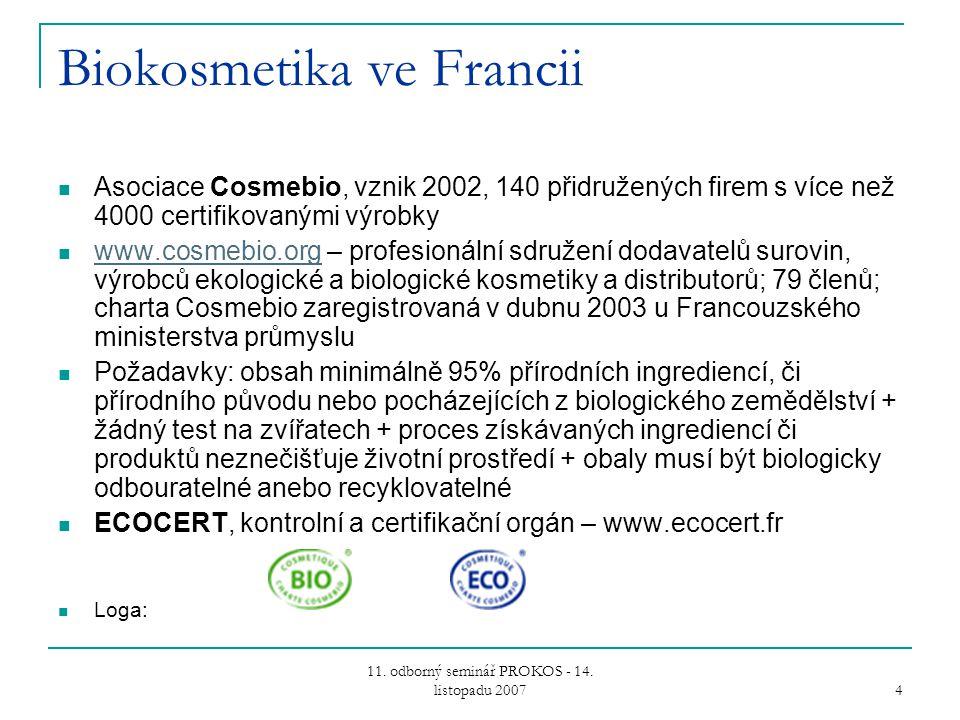 11. odborný seminář PROKOS - 14. listopadu 2007 4 Biokosmetika ve Francii Asociace Cosmebio, vznik 2002, 140 přidružených firem s více než 4000 certif