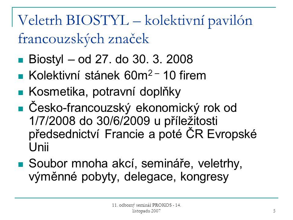 11. odborný seminář PROKOS - 14. listopadu 2007 5 Veletrh BIOSTYL – kolektivní pavilón francouzských značek Biostyl – od 27. do 30. 3. 2008 Kolektivní