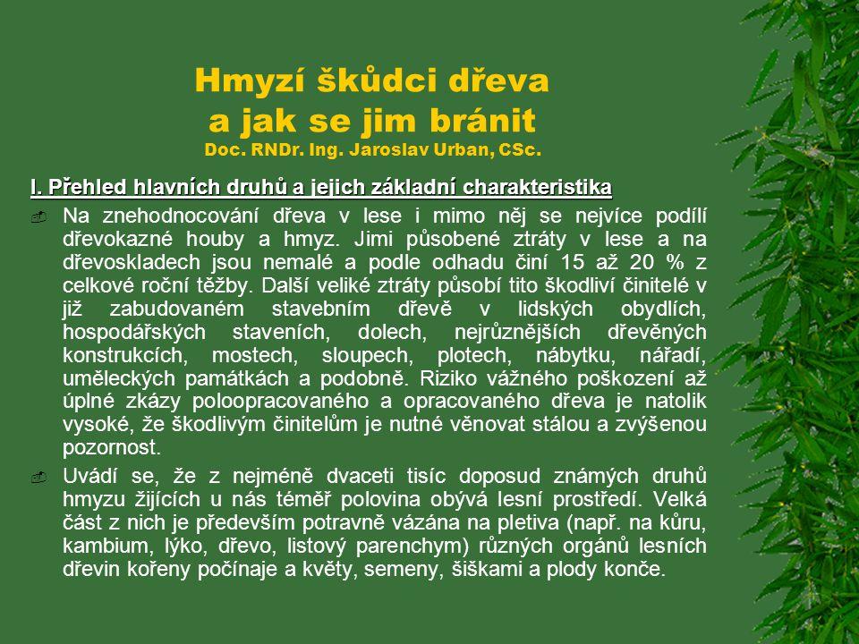 Hmyzí škůdci dřeva a jak se jim bránit Doc.RNDr. Ing.