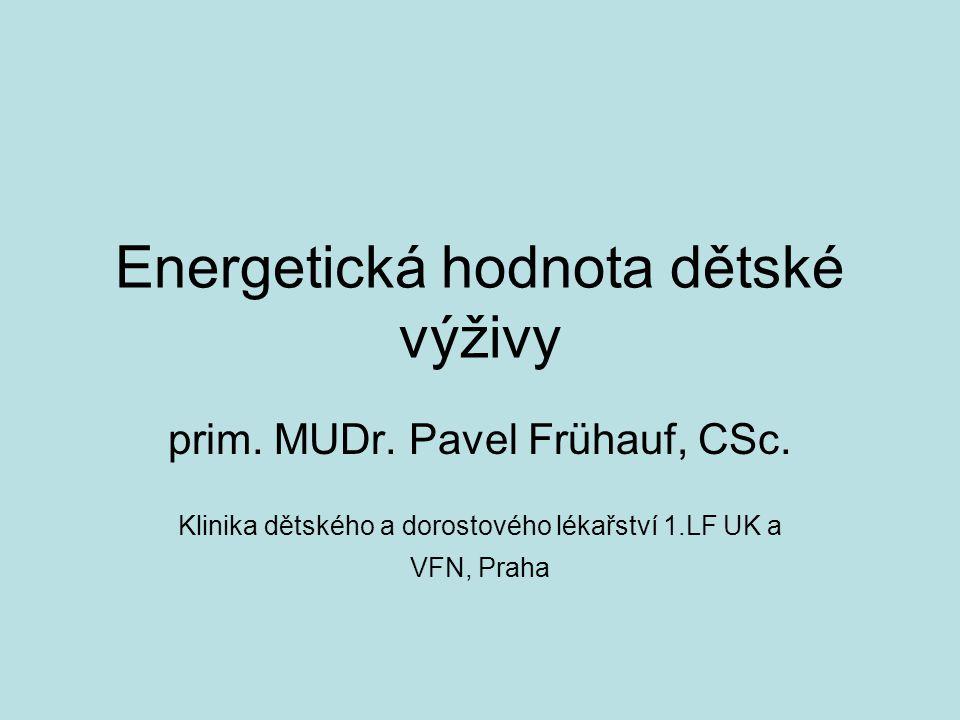 Energetická hodnota dětské výživy prim.MUDr. Pavel Frühauf, CSc.