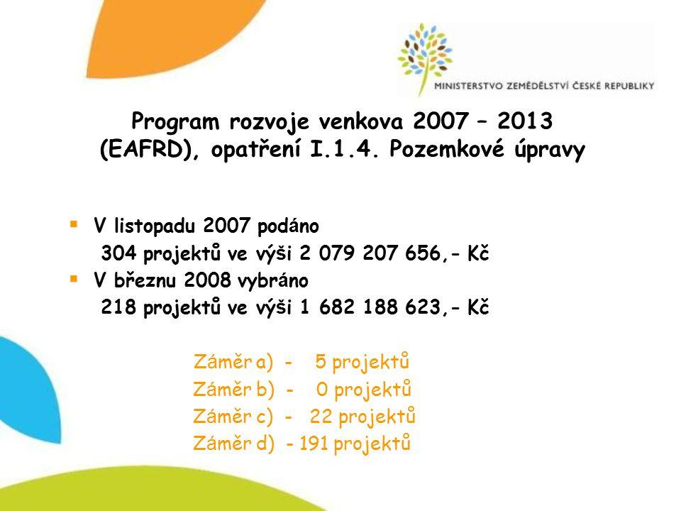 Program rozvoje venkova 2007 – 2013 (EAFRD), opatření I.1.4. Pozemkové úpravy  V listopadu 2007 pod á no 304 projektů ve vý š i 2 079 207 656,- Kč 