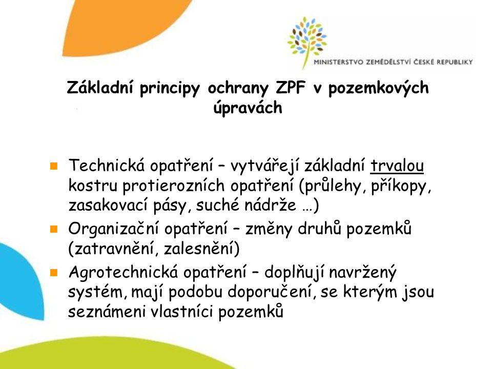 Základní principy ochrany ZPF v pozemkových úpravách Technická opatření – vytvářejí základní trvalou kostru protierozních opatření (průlehy, příkopy,