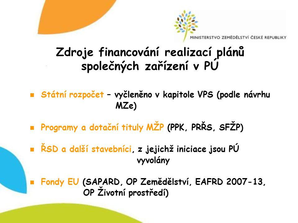 Zdroje financování realizací plánů společných zařízení v PÚ Státní rozpočet – vyčleněno v kapitole VPS (podle návrhu MZe) Programy a dotační tituly MŽ
