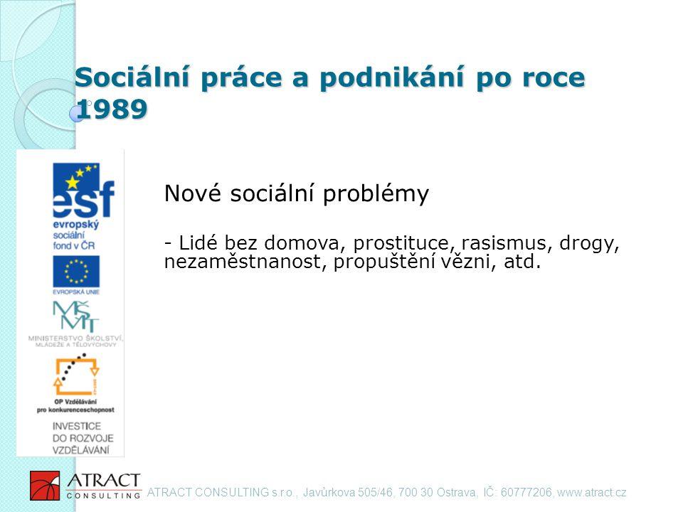 Sociální práce a podnikání po roce 1989 Nové sociální problémy - Lidé bez domova, prostituce, rasismus, drogy, nezaměstnanost, propuštění vězni, atd.
