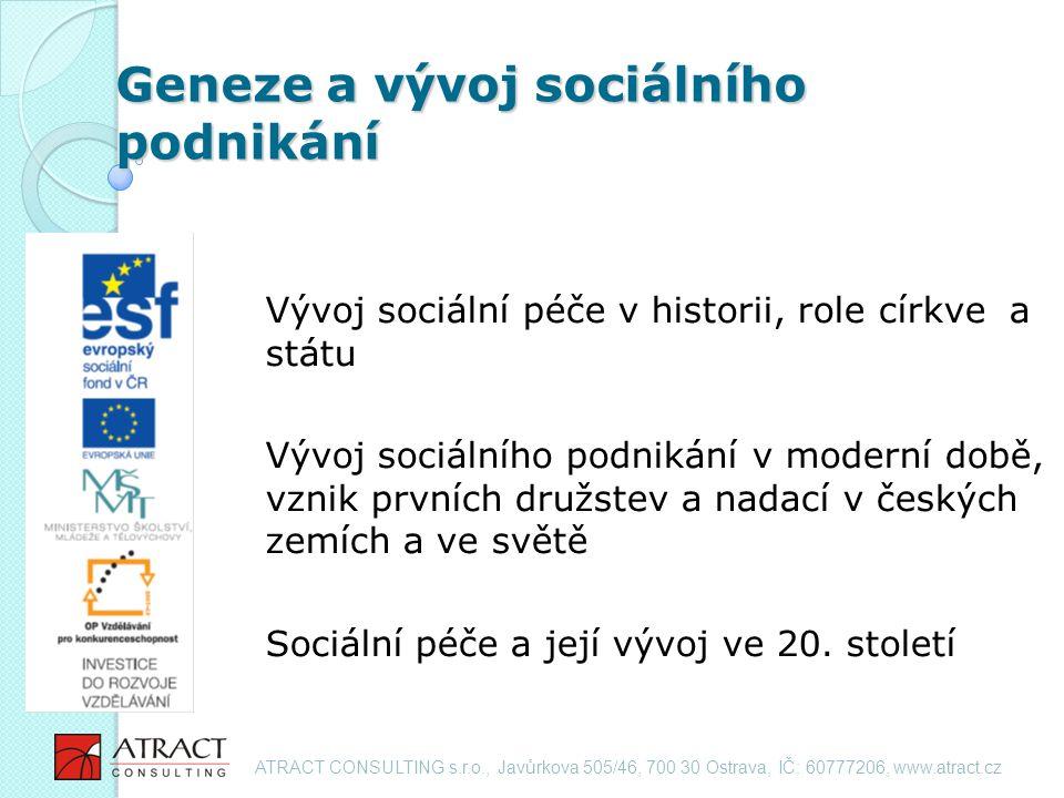 Geneze a vývoj sociálního podnikání Vývoj sociální péče v historii, role církve a státu Vývoj sociálního podnikání v moderní době, vznik prvních družstev a nadací v českých zemích a ve světě Sociální péče a její vývoj ve 20.