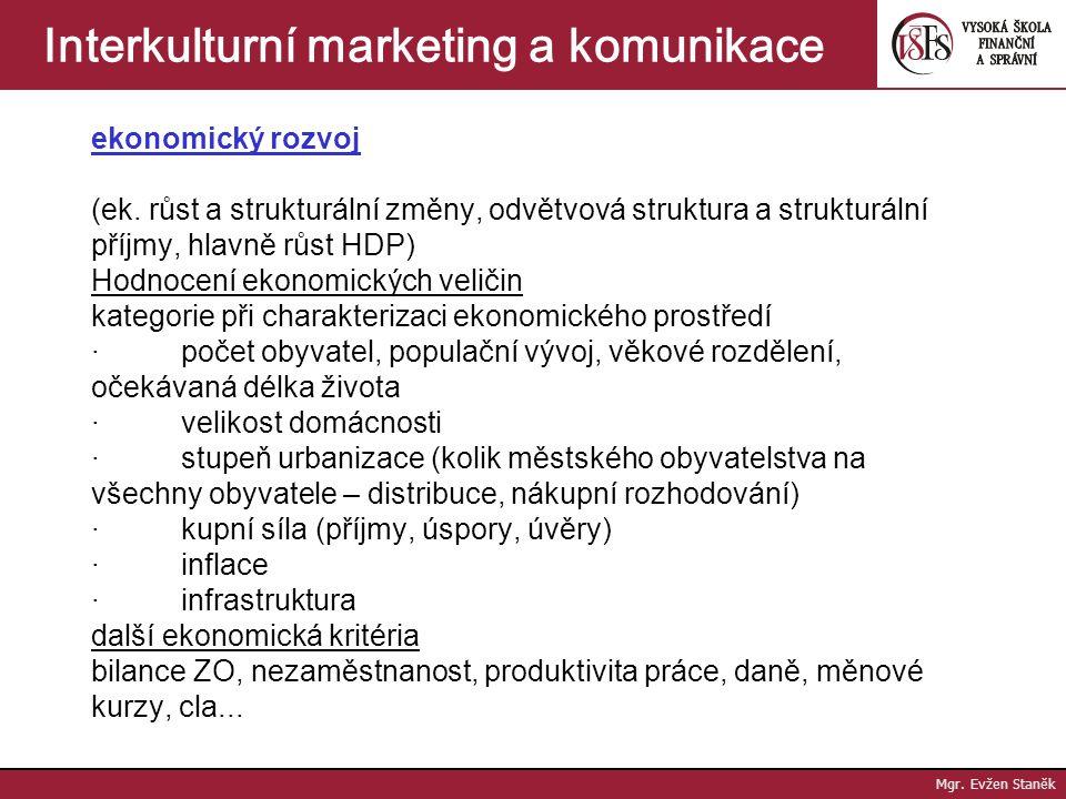 Mgr. Evžen Staněk Interkulturní marketing a komunikace struktura a výše příjmů o země s velmi nízkými příjmy rodiny (Ukrajina, Kuba) roční příjem do 5