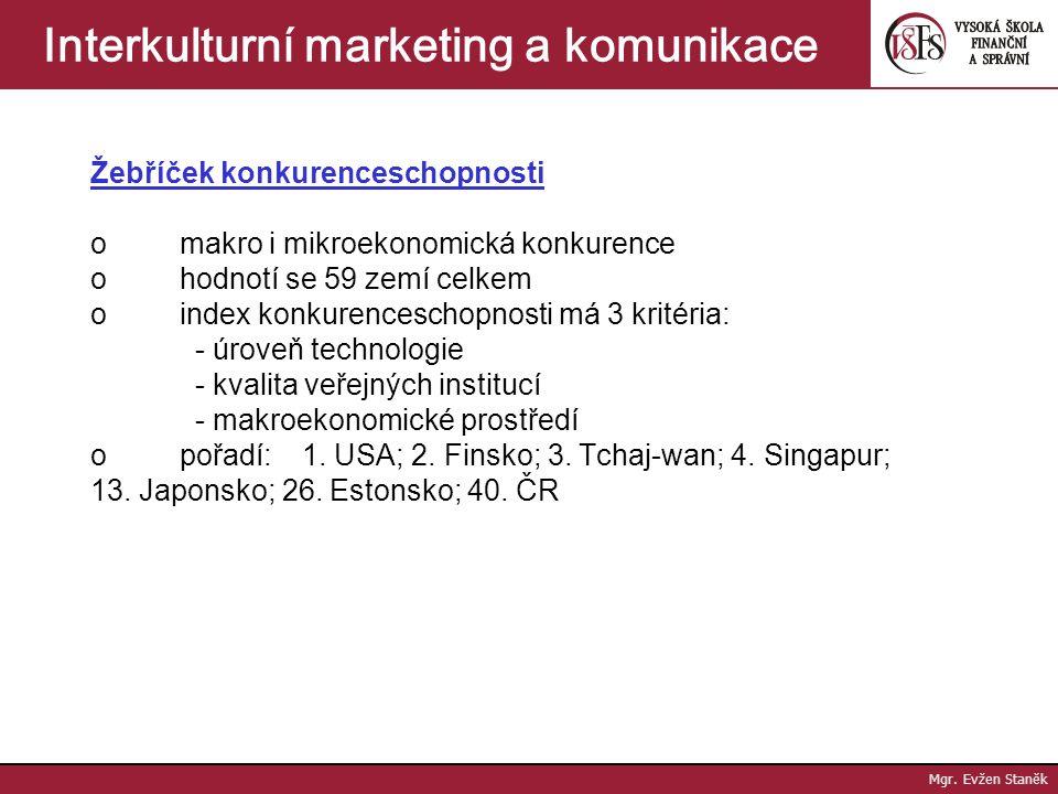 Mgr. Evžen Staněk Interkulturní marketing a komunikace ekonomický rozvoj (ek. růst a strukturální změny, odvětvová struktura a strukturální příjmy, hl