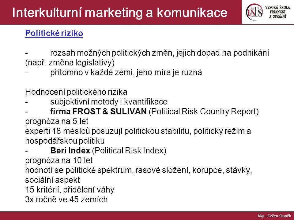 Mgr. Evžen Staněk Interkulturní marketing a komunikace Role vlády jejím úkolem je zabezpečit soupeření na trhu, ochrana státu před nežádoucím zbožím,