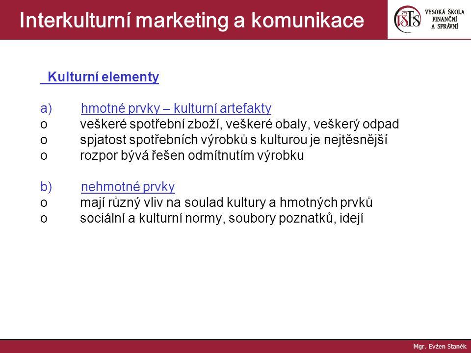 Mgr. Evžen Staněk Interkulturní marketing a komunikace Subkultura = kulturní elementy pro vybranou skupinu =málo kultur je homogenních, existují vnitř