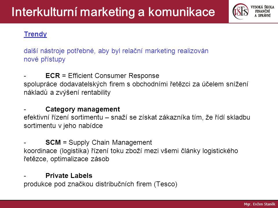Interkulturní marketing a komunikace VÝCHODISKA PRO MEZINÁRODNÍ AKTIVITY strategické rozhodování a volba koncepce Vývozní marketing - snaha o adaptaci