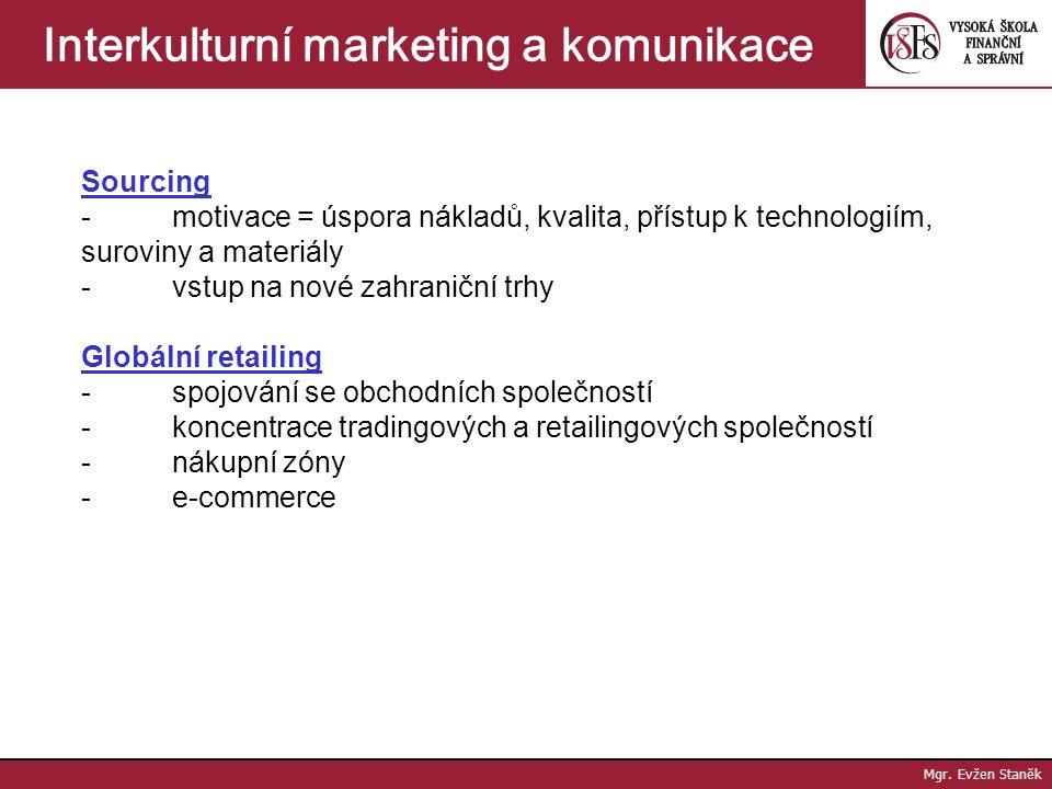 Mgr. Evžen Staněk Interkulturní marketing a komunikace Typy aliancí - technologické - výrobní - nákupní - distribuční - marketingové - multifunkční (s