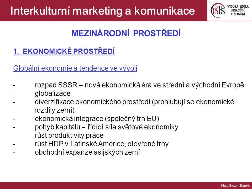 Mgr. Evžen Staněk Interkulturní marketing a komunikace Sourcing - motivace = úspora nákladů, kvalita, přístup k technologiím, suroviny a materiály - v