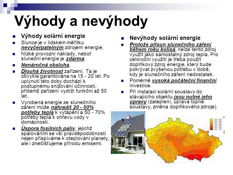 Výhody a nevýhody Výhody solární energie Slunce je v lidském měřítku nevyčerpatelným zdrojem energie. Nízké provozní náklady, neboť sluneční energie j
