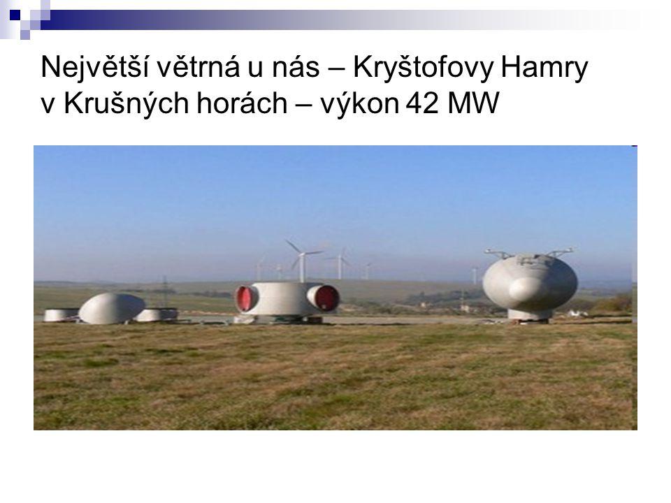 Největší větrná u nás – Kryštofovy Hamry v Krušných horách – výkon 42 MW